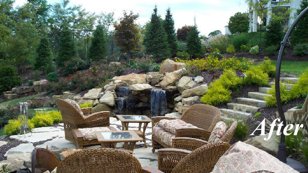 The Backyard Patio And Waterfall Feature