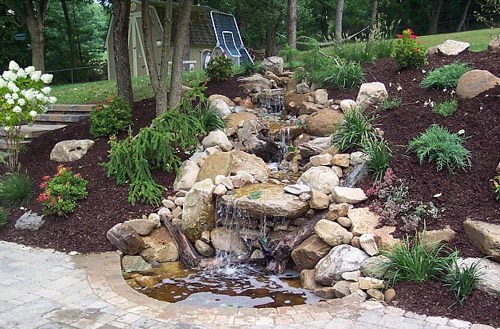 Garden waterfalls backyard water features installed in for Waterfall features for ponds
